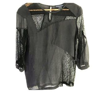 French connection sheer black blouse size 6